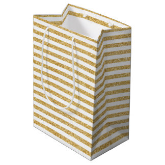 Elegant Faux Gold Glitter and White Stripe Pattern Medium Gift Bag