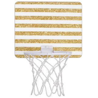 Elegant Faux Gold Glitter and White Stripe Pattern Mini Basketball Hoop