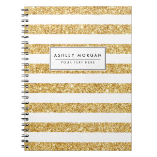 Elegant Faux Gold Glitter and White Stripe Pattern Notebooks