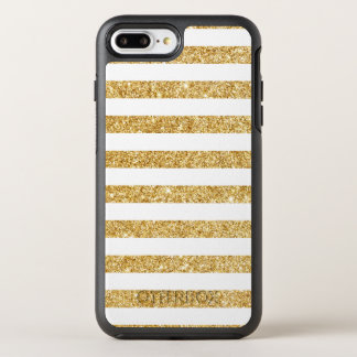 Elegant Faux Gold Glitter and White Stripe Pattern OtterBox Symmetry iPhone 8 Plus/7 Plus Case