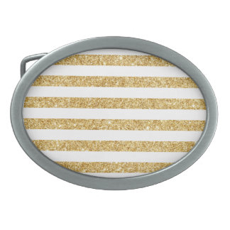 Elegant Faux Gold Glitter and White Stripe Pattern Oval Belt Buckle