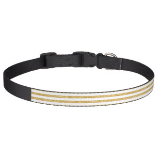 Elegant Faux Gold Glitter and White Stripe Pattern Pet Collar