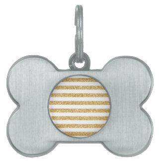 Elegant Faux Gold Glitter and White Stripe Pattern Pet Name Tag