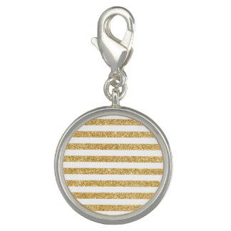 Elegant Faux Gold Glitter and White Stripe Pattern Photo Charm