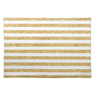 Elegant Faux Gold Glitter and White Stripe Pattern Placemat