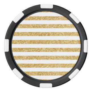 Elegant Faux Gold Glitter and White Stripe Pattern Poker Chips