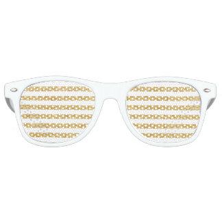 Elegant Faux Gold Glitter and White Stripe Pattern Sunglasses