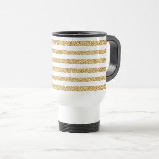 Elegant Faux Gold Glitter and White Stripe Pattern Travel Mug