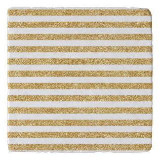 Elegant Faux Gold Glitter and White Stripe Pattern Trivet