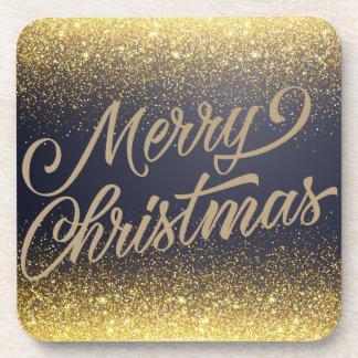Elegant Faux Gold Glitter Christmas   Coaster