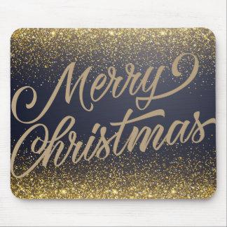 Elegant Faux Gold Glitter Christmas | Mousepad
