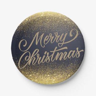Elegant Faux Gold Glitter Christmas | Paper Plates