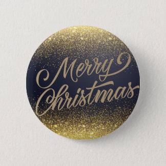Elegant Faux Gold Glitter Christmas   Pin Button