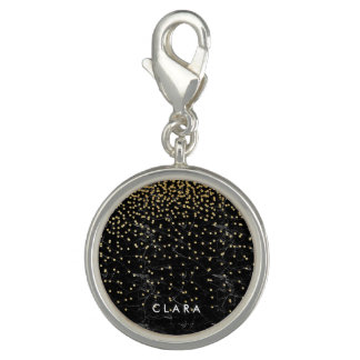 elegant faux gold glitter confetti black marble charms