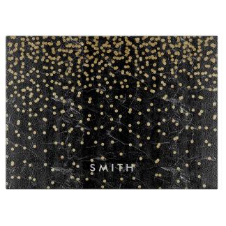 elegant faux gold glitter confetti black marble cutting board