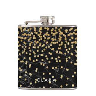 elegant faux gold glitter confetti black marble hip flask