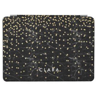 elegant faux gold glitter confetti black marble iPad air cover