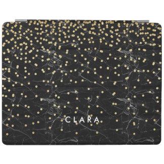 elegant faux gold glitter confetti black marble iPad cover