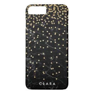 elegant faux gold glitter confetti black marble iPhone 8 plus/7 plus case