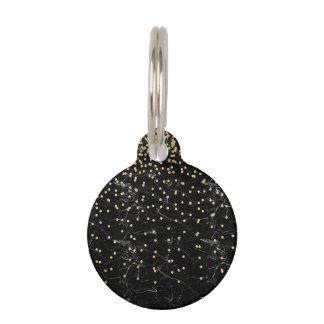 elegant faux gold glitter confetti black marble pet ID tag
