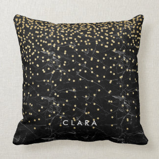 elegant faux gold glitter confetti black marble throw pillow