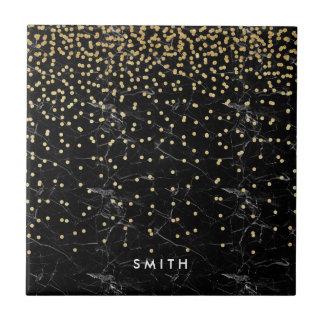 elegant faux gold glitter confetti black marble tile