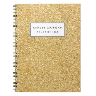 Elegant Faux Gold Glitter Notebooks