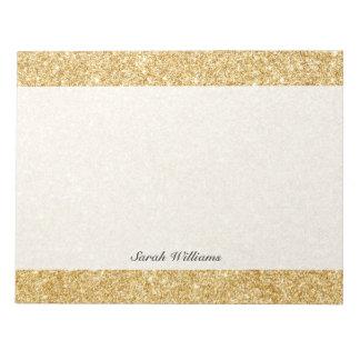 Elegant Faux Gold Glitter Notepad