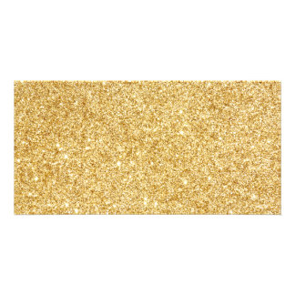Elegant Faux Gold Glitter Photo Cards