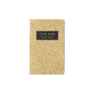 Elegant Faux Gold Glitter Pocket Moleskine Notebook