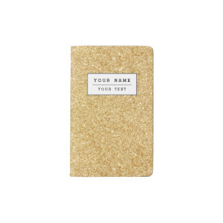 Elegant Faux Gold Glitter Pocket Moleskine Notebook