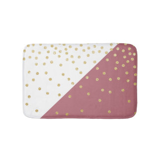 elegant faux gold glitter polka dots dusty pink bath mat