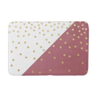 elegant faux gold glitter polka dots dusty pink bath mat