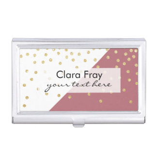 elegant faux gold glitter polka dots dusty pink business card case