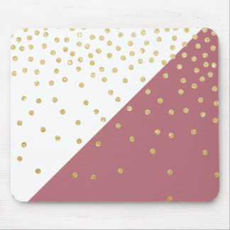 elegant faux gold glitter polka dots dusty pink mouse pad
