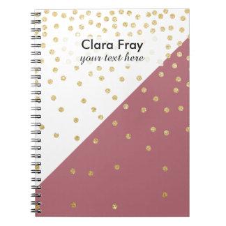 elegant faux gold glitter polka dots dusty pink note book