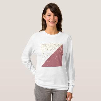 elegant faux gold glitter polka dots dusty pink T-Shirt