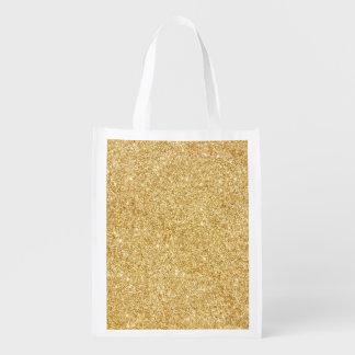 Elegant Faux Gold Glitter Reusable Grocery Bag