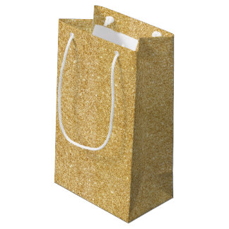 Elegant Faux Gold Glitter Small Gift Bag