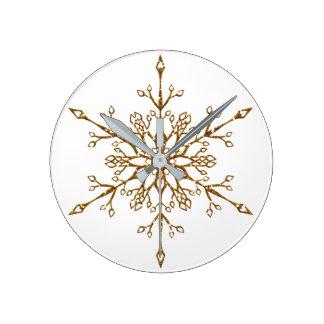 Elegant Faux Gold Glitter Snowflake Round Clock