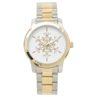 Elegant Faux Gold Glitter Snowflake Watch