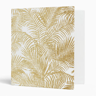 Elegant faux gold glitter tropical plants pattern vinyl binder