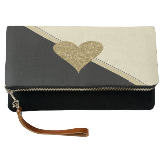 Elegant Faux Gold Glittery  Heart-Black and Cream Clutch