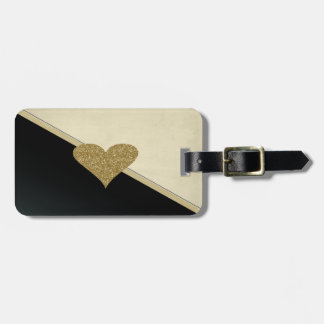 Elegant Faux Gold Glittery  Heart-Black and Cream Luggage Tag