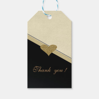 Elegant Faux Gold Glittery  Heart-Black and Cream Pack Of Gift Tags