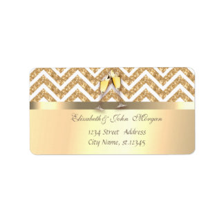 Elegant  Faux Gold,Glittery Zigzag Chevron,Glasses Label