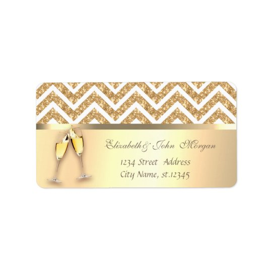 Elegant  Faux Gold,Glittery Zigzag Chevron,Glasses Label