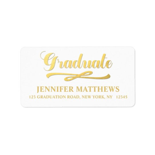 Elegant Faux Gold Graduation Address Label