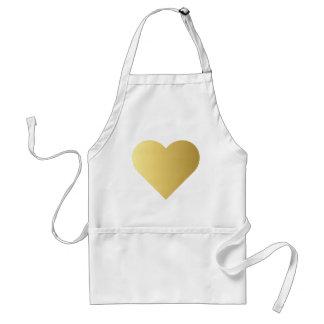 Elegant Faux Gold Heart Standard Apron