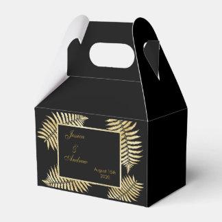Elegant Faux Gold Leaf Bracken Wedding Favor Box